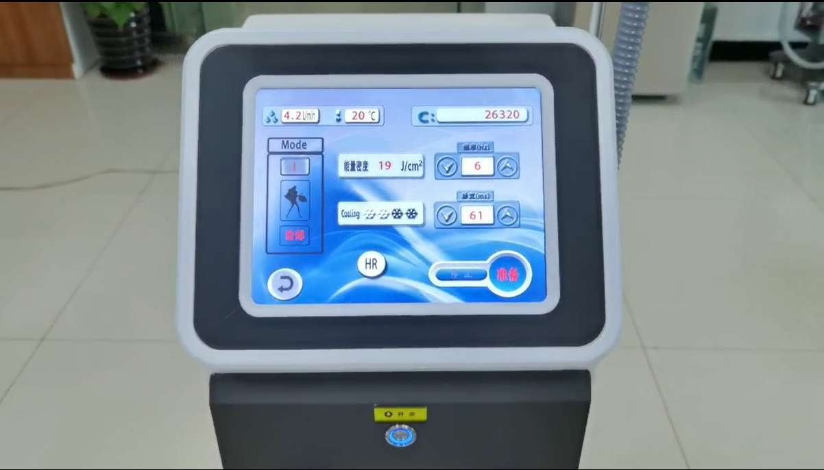 Best-selling 808nm Laser Hair Removal Machine Operation Interface And Output Energy Display
